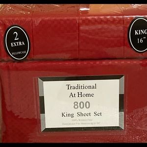 Traditional At Home 6pc King Sheet Set Ruby red
